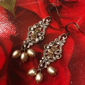 Jewelry - Fancy drop earrings with jewel and pearl accents